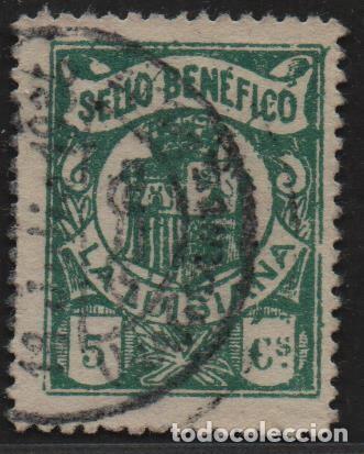 LA LUISIANA, (SEVILLA). 5 CTS, VERDE -SELLO BENEFICO- ALLEPUZ Nº 3, VER FOTO (Sellos - España - II República de 1.931 a 1.939 - Usados)