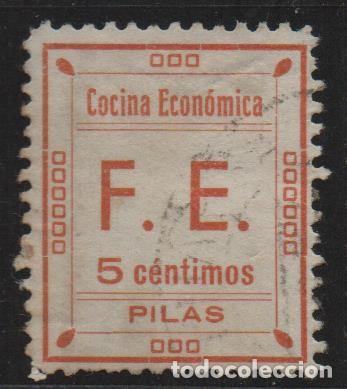 PILAS, (SEVILLA) 5 CTS, -COCINAS ECONOMICAS- ALLEPUZ Nº 5, VER FOTO (Sellos - España - II República de 1.931 a 1.939 - Usados)