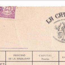 Sellos: AP12-POSTALES FISCALES . RECIBO LA CATALANA. REINTEGRADO CON SELLO CIFRA 25 CTS 1938. Lote 115327567