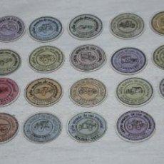 Sellos: COLECCION DE 40 UNIDADES DE CARTON MONEDA PROVISIONAL CON SELLOS DE MALAGA 1937, COCHES. Lote 115416579