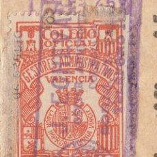 Sellos: 1938 SELLO FISCAL COLEGIO OFICIAL GESTORES ADMINISTRATIVOS VALENCIA DE 10 CTS. REPUBLICA. Lote 115594971