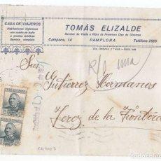 Sellos: SOBRE 1935. PAMPLONA. NAVARRA. MEMBRETE CASA DE VIAJEROS TOMÁS ELIZALDE. DORSO LLEGADA. Lote 116525063