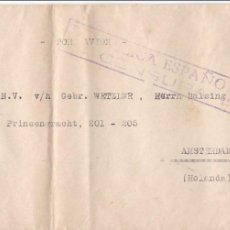 Sellos: F21-14A- CARTA CORREO AÉREO BARCELONA CAMBIO-AMSTERDAM 1938- CENSURA REPÚBLICA . Lote 118093303