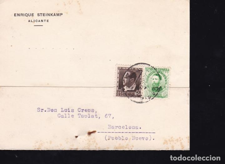 F21-104-TARJETA POSTAL ALICANTE- BARCELONA 1935 (Sellos - España - II República de 1.931 a 1.939 - Cartas)