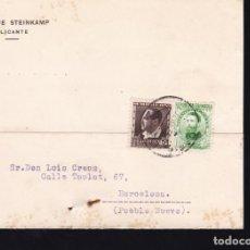 Sellos: F21-104-TARJETA POSTAL ALICANTE- BARCELONA 1935. Lote 118215255