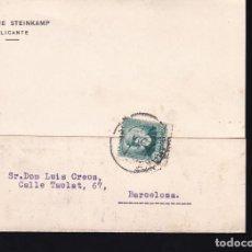 Sellos: F21-102- TARJETA POSTAL ALICANTE-BARCELONA 1935. Lote 118215747