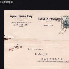 Sellos: F21-92- TARJETA POSTAL GRANOLLERS- BARCELONA 1936. Lote 118216323