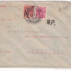 Sellos: CM2-75-CARTA PORTO ALEGRE- PELOTAS 1933. VOLADA POR VARIG. VIÑETA . Lote 118467799