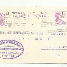 Sellos: ENTERO POSTAL EDIFIL 69 CIRCULADA 1935 DE SEVILLA A ZARAGOZA. Lote 119230171