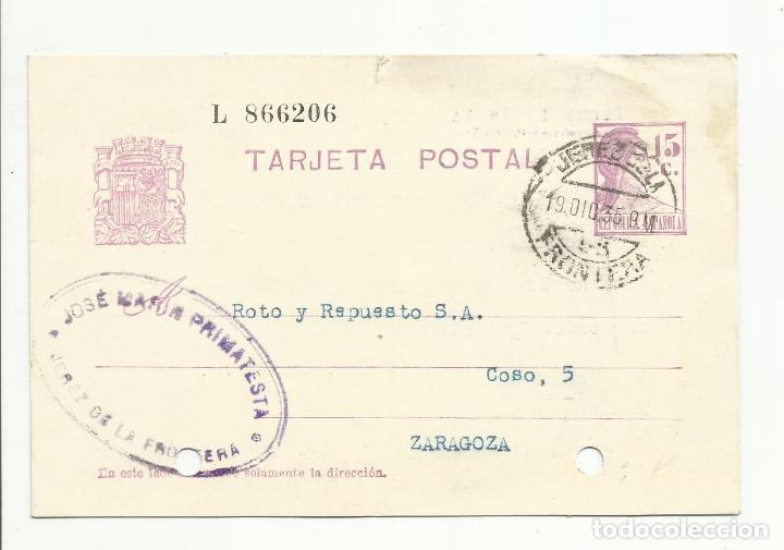 ENTERO POSTAL EDIFIL 69 CIRCULADA 1935 DE JEREZ DE LA FRONTERA CADIZ A ZARAGOZA (Sellos - España - II República de 1.931 a 1.939 - Cartas)