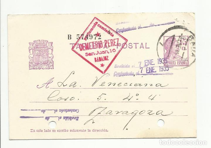 ENTERO POSTAL EDIFIL 69 CIRCULADA 1934 DE BADAJOZ A ZARAGOZA (Sellos - España - II República de 1.931 a 1.939 - Cartas)