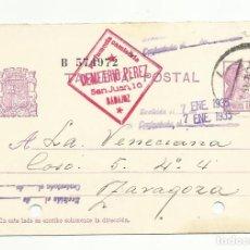 Timbres: ENTERO POSTAL EDIFIL 69 CIRCULADA 1934 DE BADAJOZ A ZARAGOZA. Lote 119231551