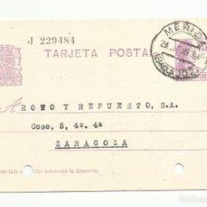 Timbres: ENTERO POSTAL EDIFIL 69 CIRCULADA 1935 DE MERIDA BADAJOZ A ZARAGOZA. Lote 119232011