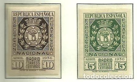 SELLOS EDIFIL 727 / 728 - EXPO FILATELICA MADRID - AÑO 1936 - NUEVA SIN FIJASELLOS XXX (Sellos - España - II República de 1.931 a 1.939 - Nuevos)