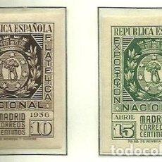 Sellos: SELLOS EDIFIL 727 / 728 - EXPO FILATELICA MADRID - AÑO 1936 - NUEVA SIN FIJASELLOS XXX. Lote 119258491