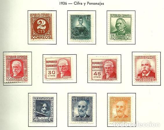 SELLOS EDIFIL 731 / 740 - CIFRA Y PERSONAJES - AÑO 1936 - NUEVA LUJO XX (Sellos - España - II República de 1.931 a 1.939 - Nuevos)