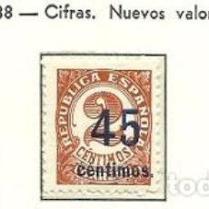 Sellos: SELLOS EDIFIL 742 / 744 - CIFRAS, NUEVOS VALORES - AÑO 1938 - NUEVOS DE LUJO XXX . Lote 119259923