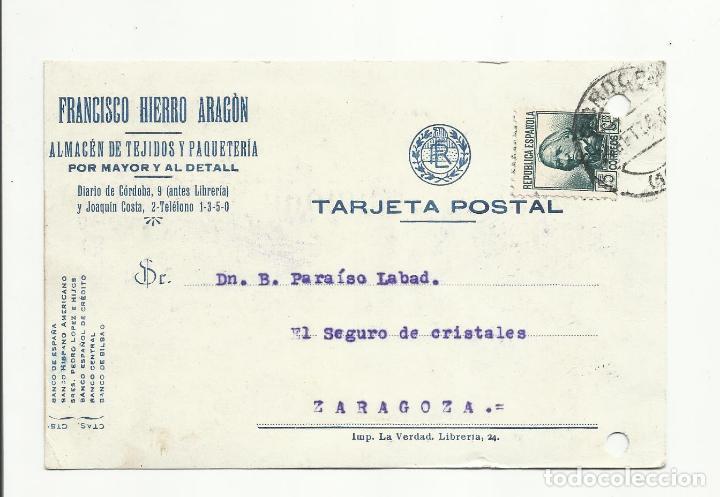 TARJETA POSTAL CIRCULADA 1935 DE CORDOBA A ZARAGOZA (Sellos - España - II República de 1.931 a 1.939 - Cartas)