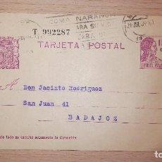 Sellos: ANTIGUA TARJETA POSTAL REPUBLICANA, MURCIA-BADAJOZ, DIRIGIDA A BAZAR LA LUZ, AÑO 1934. Lote 119321615