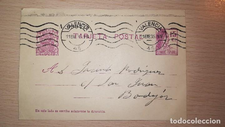 ANTIGUA TARJETA POSTAL REPUBLICANA, VALENCIA-BADAJOZ, AÑO 1935 (Sellos - España - II República de 1.931 a 1.939 - Cartas)