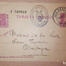 Selos: ANTIGUA TARJETA POSTAL REPUBLICANA, LOS SANTOS DE MAIMONA-BADAJOZ, DIRIGIDA A BAZAR LA LUZ, AÑO 1934. Lote 119321787