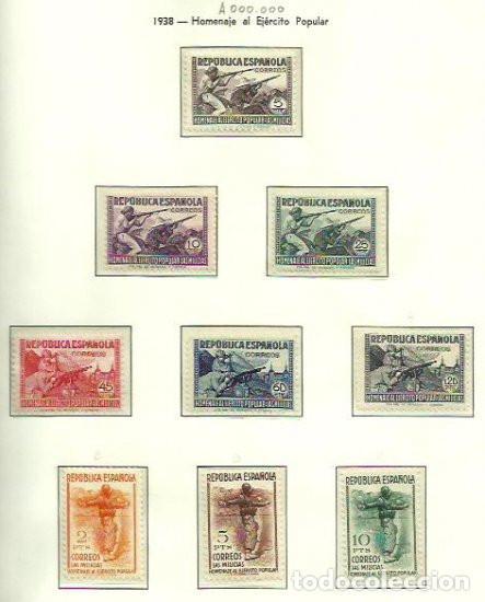 SELLOS EDIFIL 792 / 800 - HOMENAJE AL EJERCITO POPULAR - AÑO 1938 - CENTRAJE LUJO. XX/XXX (Sellos - España - II República de 1.931 a 1.939 - Nuevos)