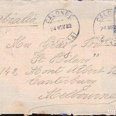 Sellos: F23-54-CARTA CALONGE (GERONA)- MELBOURNE (AUSTRALIA) 1932. Lote 119901763