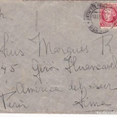 Sellos: F24-26-CARTA MADRID-PERÚ 1936. DORSO LLEGADA. Lote 119984843