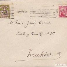 Sellos: F24-38-CARTA BARCELONA- MAHÓN 1935. DORSO RODILLO MUDO LLEGADA. Lote 119990427