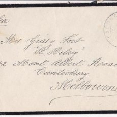 Sellos: F24-38-CARTA LUTO CALONGE GERONA- AUSTRALIA 1934. DORSO TRÁNSITO PALAMÓS. Lote 119990595