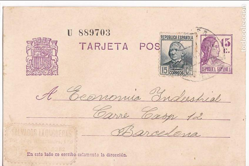 F23-95- GUERRA CIVIL . ENTERO POSTAL TARRASA 1937. FRANQUEO COMPLEMENTARIO (Sellos - España - II República de 1.931 a 1.939 - Cartas)