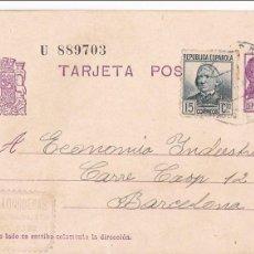 Sellos: F23-95- GUERRA CIVIL . ENTERO POSTAL TARRASA 1937. FRANQUEO COMPLEMENTARIO. Lote 120242631