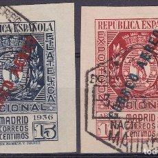 Sellos: CL8-2-EXPO FILATÉLICA MADRID 1936 AEREOS . EDIFIL 729/ 30 . USADOS. LUJO. MUY RAROS. Lote 156760948