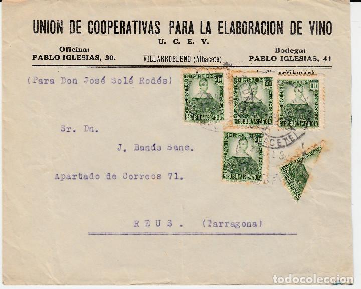 CARTA CON SELLOS NUM. 682 Y BISECTADO -UNION COOPERATIVAS ELAB. DE VINO EN VILLARROBLEDO-ALBACETE (Sellos - España - II República de 1.931 a 1.939 - Cartas)