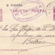 Sellos: TARJETA POSTAL: 1936 ESCALANTE ( SANTANDER) - BILBAO / FERRETERIA VASCO MONTAÑESA. Lote 120902983