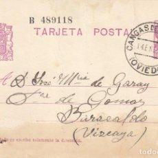 Sellos: TARJETA POSTAL: 1935 CANGAS DE NARCEA (ASTURIAS) - BARACALDO (VIZCAYA . Lote 120903559