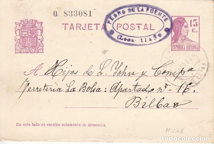 TARJETA POSTAL: 1934 RIAÑO (LEON) PEDRO DE LA FUENTE - BILBAO (Sellos - España - II República de 1.931 a 1.939 - Cartas)