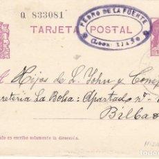 Timbres: TARJETA POSTAL: 1934 RIAÑO (LEON) PEDRO DE LA FUENTE - BILBAO. Lote 121020883