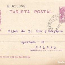 Sellos: TARJETA POSTAL: 1934 CERVERA DE PISUERGA (HIGINIO LAZCANO) - BILBAO. Lote 121021283