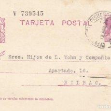 Sellos: TARJETA POSTAL: 1934 CERVERA DE PISUERGA - BILBAO. Lote 121021363