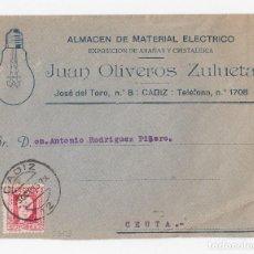 Sellos: SOBRE DE CÁDIZ A CEUTA. MEMBRETE ALMACÉN MATERIAL ELÉCTRICO JUAN OLIVEROS ZULUETA. 1933. Lote 121524587