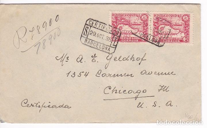 F25-19- CARTA CERTIFICADO BARCELONA- CHICAGO. 1935. FRANQUEO PAREJA EXPEDICIÓN AMAZONAS (Sellos - España - II República de 1.931 a 1.939 - Cartas)
