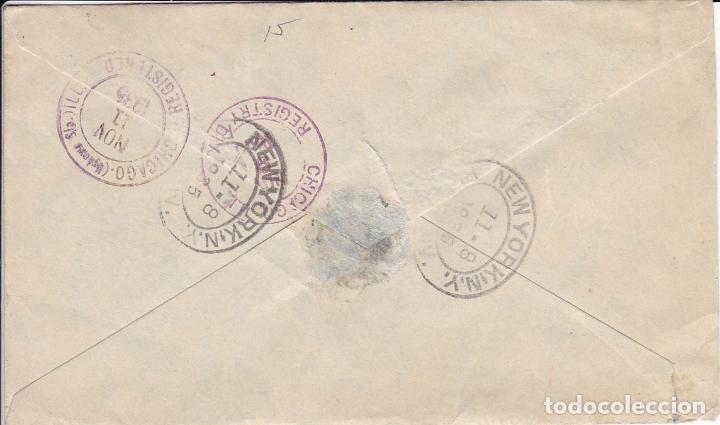 Sellos: F25-19- Carta Certificado Barcelona- Chicago. 1935. franqueo Pareja Expedición Amazonas - Foto 2 - 122097235