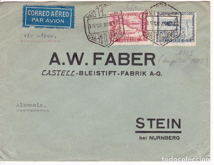 F28-9- CARTA FABER CASTELL CORREO AÉREO BARCELONA-ALEMANIA 1935. RARO FRANQUEO (Sellos - España - II República de 1.931 a 1.939 - Cartas)