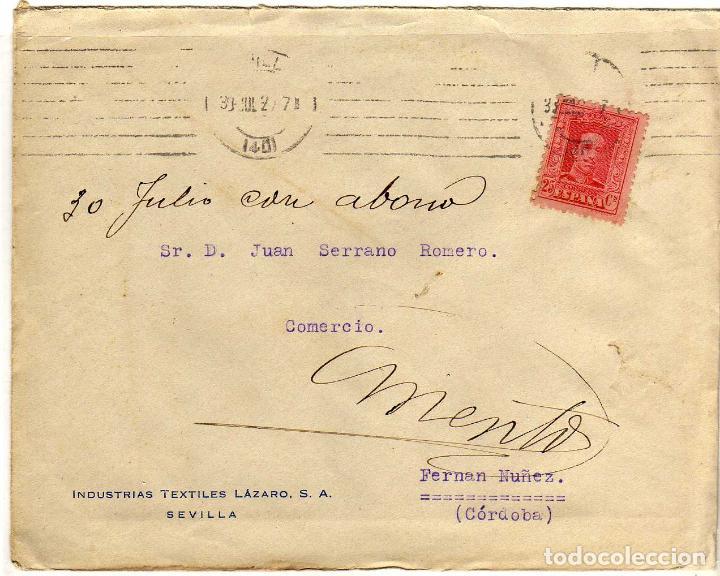PRECIOSA CARTA COMERCIAL - EN REVERSO: FIESTAS DE PRIMAVERA 1932 - SEMANA SANTA Y FERIA - SEVILLA (Sellos - España - II República de 1.931 a 1.939 - Cartas)