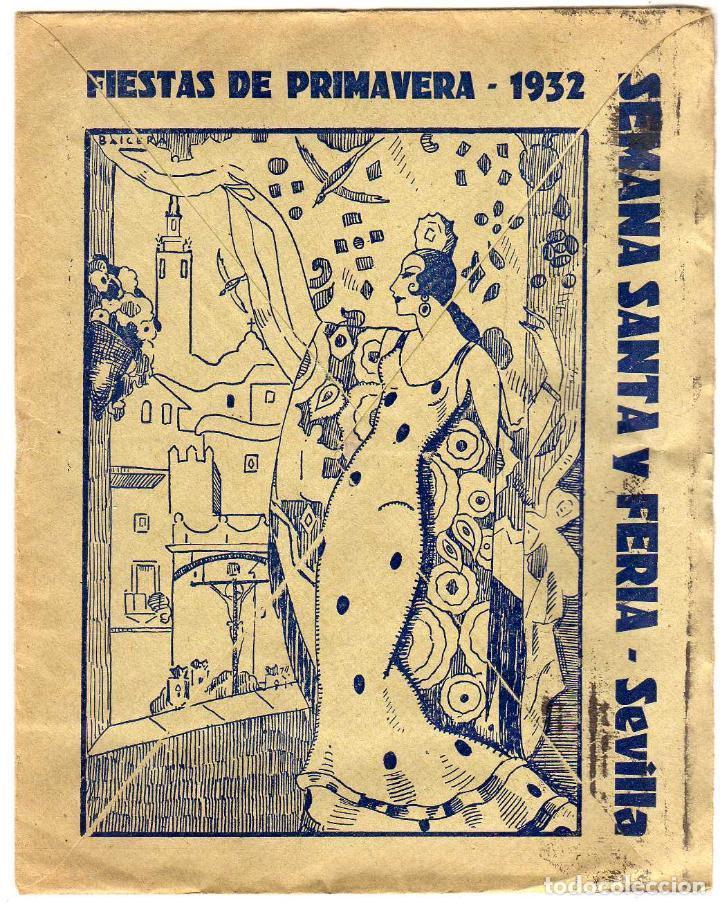 Sellos: PRECIOSA CARTA COMERCIAL - EN REVERSO: FIESTAS DE PRIMAVERA 1932 - SEMANA SANTA Y FERIA - SEVILLA - Foto 2 - 122477643