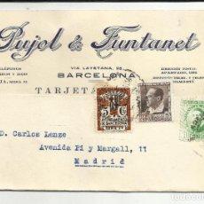 Sellos: TARJETA MECANOESCRITA 1935 DE BARCELONA A MADRID. Lote 124220579