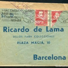 Sellos: GUERRA CIVIL, SOBRE, MATASELLOS ESPECIAL CON SELLO FRACCIONADO, VALENCIA, 1937. Lote 124666755