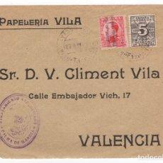 Sellos: 1932 FRAGMENTO SOBRE DIRIGIDO A VALENCIA DESDE AYTO. DE PALMA DE GANDIA. Lote 125129427