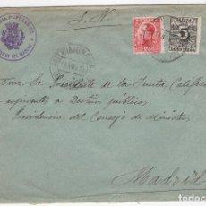 Sellos: 1931 SOBRE AZUL DIRIGIDO A MADRID DESDE AYTO. DE PATERNA DEL MADERA (ALBACETE). Lote 125256855